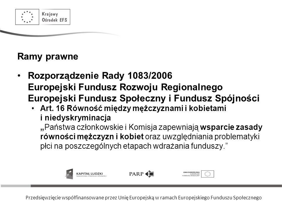 Ramy prawne Rozporządzenie Rady 1083/2006 Europejski Fundusz Rozwoju Regionalnego Europejski Fundusz Społeczny i Fundusz Spójności.