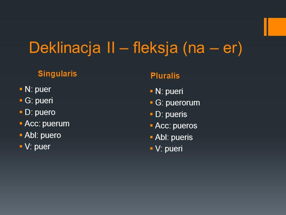 Deklinacja II – fleksja (na – er)