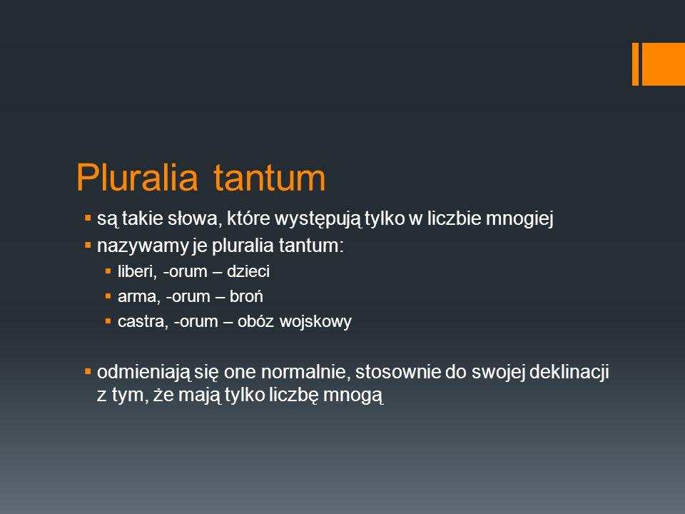 Pluralia tantum są takie słowa, które występują tylko w liczbie mnogiej. nazywamy je pluralia tantum: