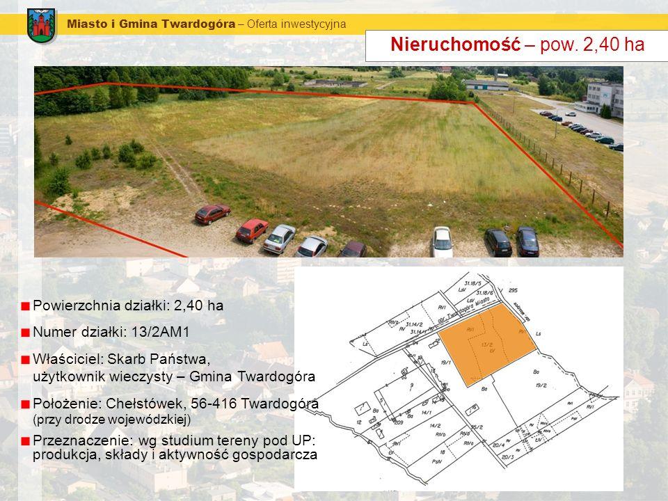 Nieruchomość – pow. 2,40 ha Powierzchnia działki: 2,40 ha