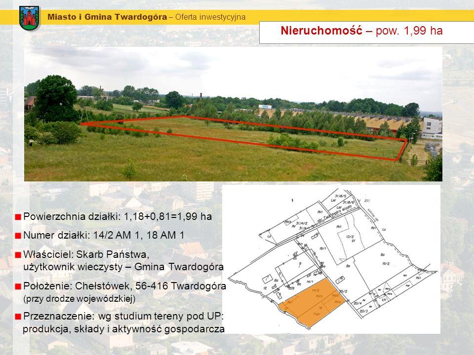 Nieruchomość – pow. 1,99 ha Powierzchnia działki: 1,18+0,81=1,99 ha