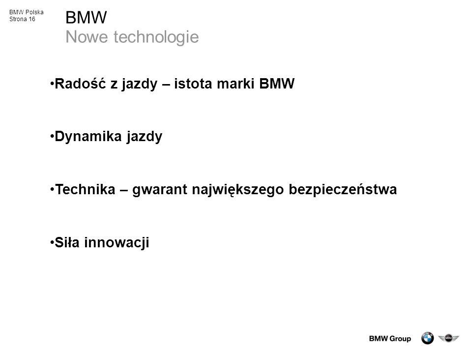 BMW Nowe technologie Radość z jazdy – istota marki BMW Dynamika jazdy
