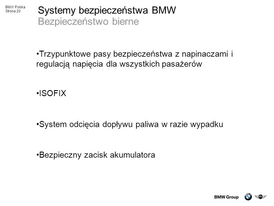 Systemy bezpieczeństwa BMW Bezpieczeństwo bierne