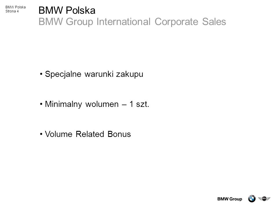 BMW Polska BMW Group International Corporate Sales