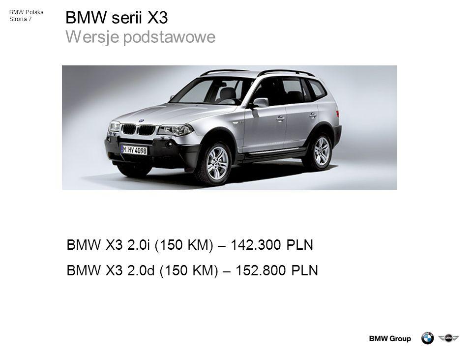 BMW serii X3 Wersje podstawowe