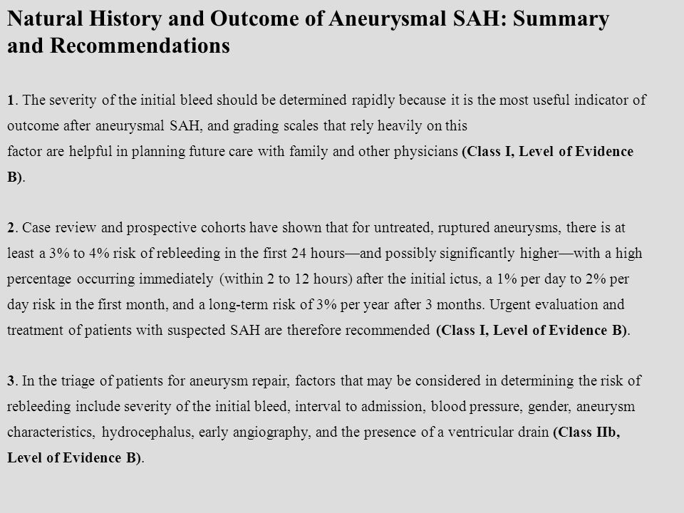 Natural History and Outcome of Aneurysmal SAH: Summary and Recommendations