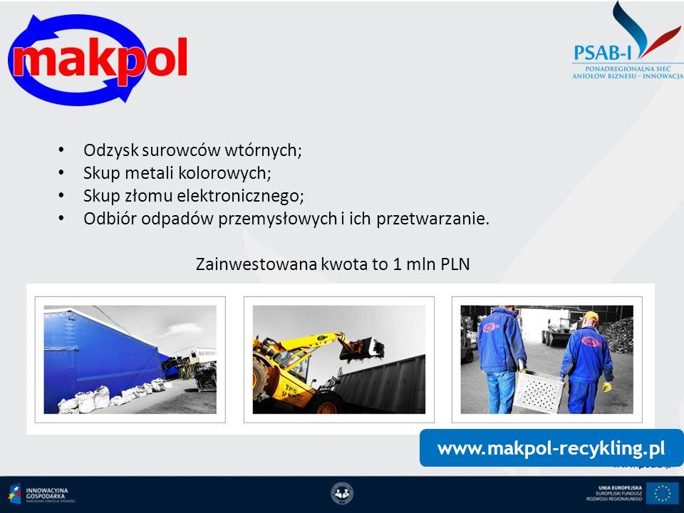 Zainwestowana kwota to 1 mln PLN
