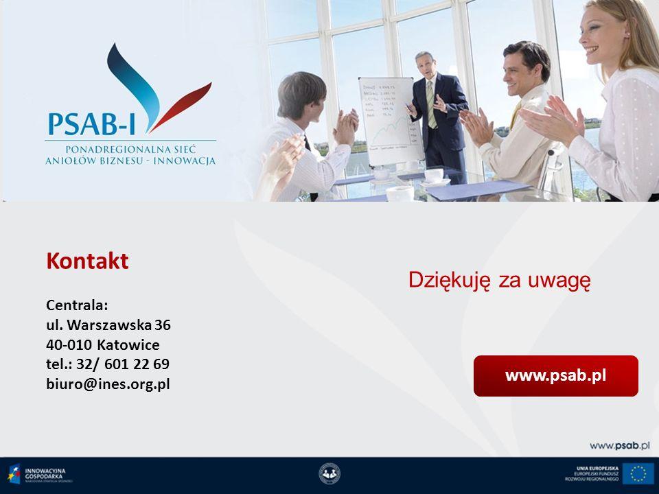 Kontakt Dziękuję za uwagę www.psab.pl Centrala: ul. Warszawska 36