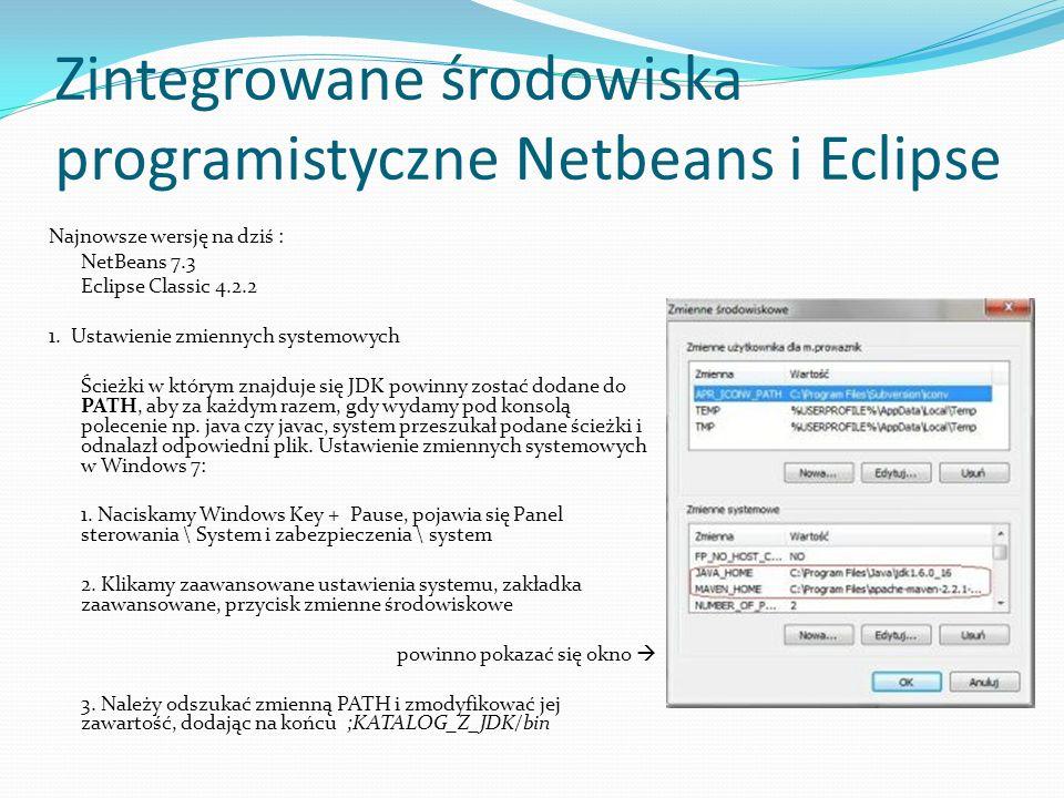 Zintegrowane środowiska programistyczne Netbeans i Eclipse