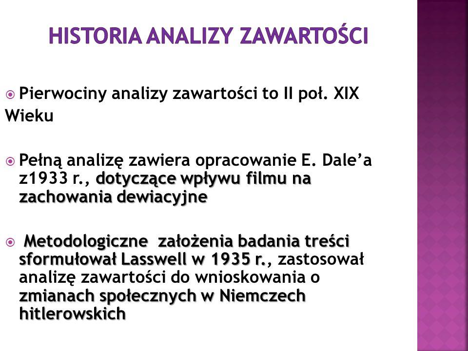 Historia analizy zawartości