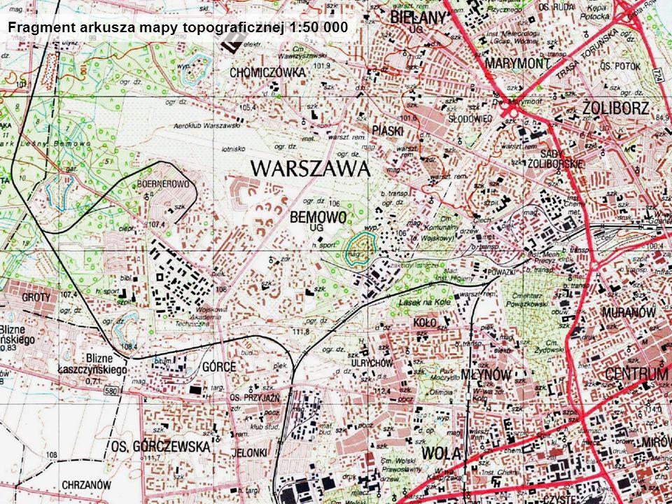 Fragment arkusza mapy topograficznej 1:50 000