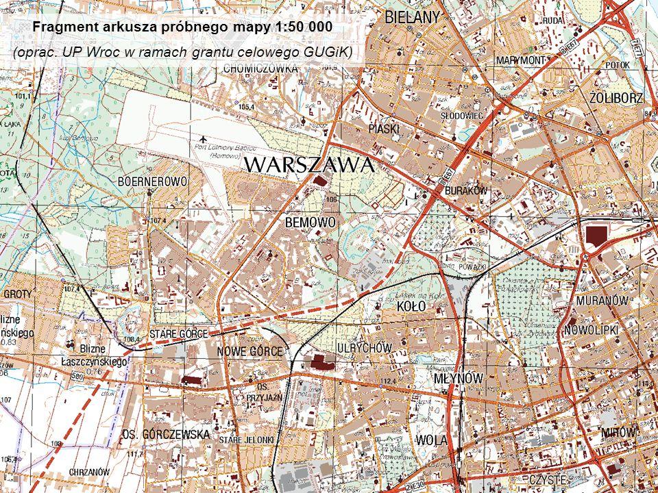 Fragment arkusza próbnego mapy 1:50 000