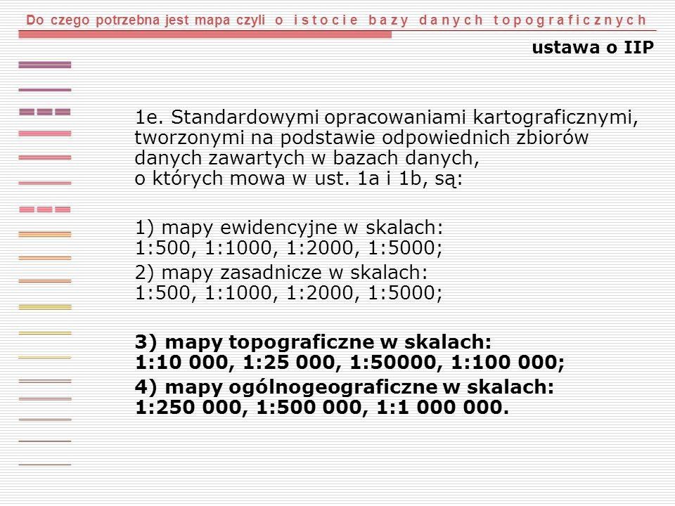 1) mapy ewidencyjne w skalach: 1:500, 1:1000, 1:2000, 1:5000;