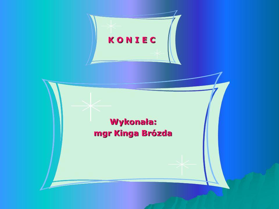 K O N I E C Wykonała: mgr Kinga Brózda