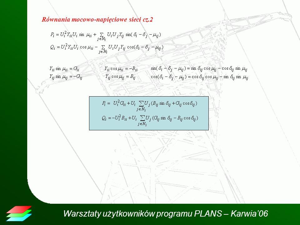 Równania mocowo-napięciowe sieci cz.2