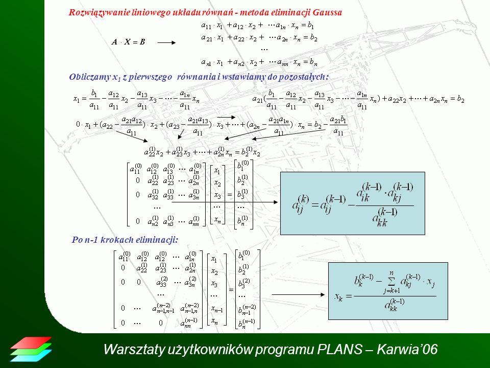 Rozwiązywanie liniowego układu równań - metoda eliminacji Gaussa