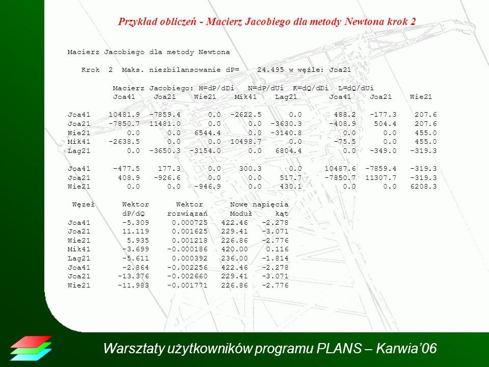 Przykład obliczeń - Macierz Jacobiego dla metody Newtona krok 2
