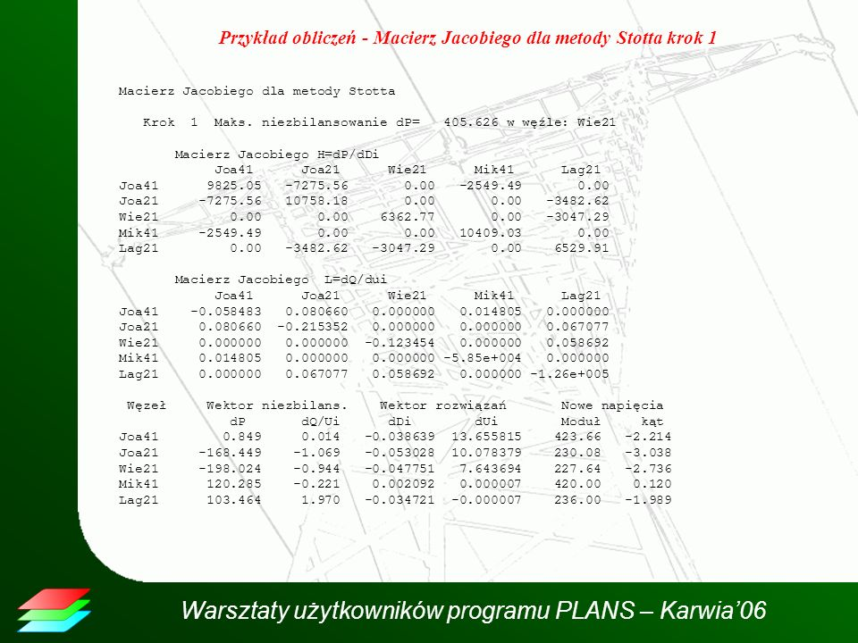 Przykład obliczeń - Macierz Jacobiego dla metody Stotta krok 1