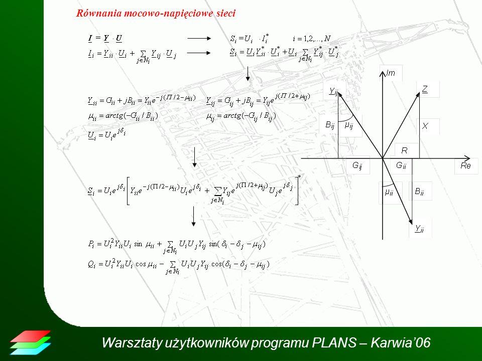 Równania mocowo-napięciowe sieci