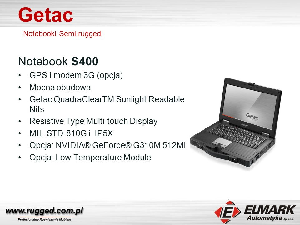 Getac Notebook S400 GPS i modem 3G (opcja) Mocna obudowa
