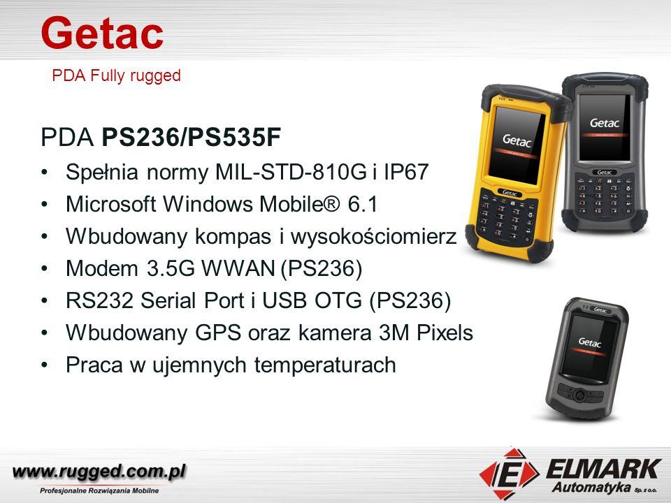 Getac PDA PS236/PS535F Spełnia normy MIL-STD-810G i IP67