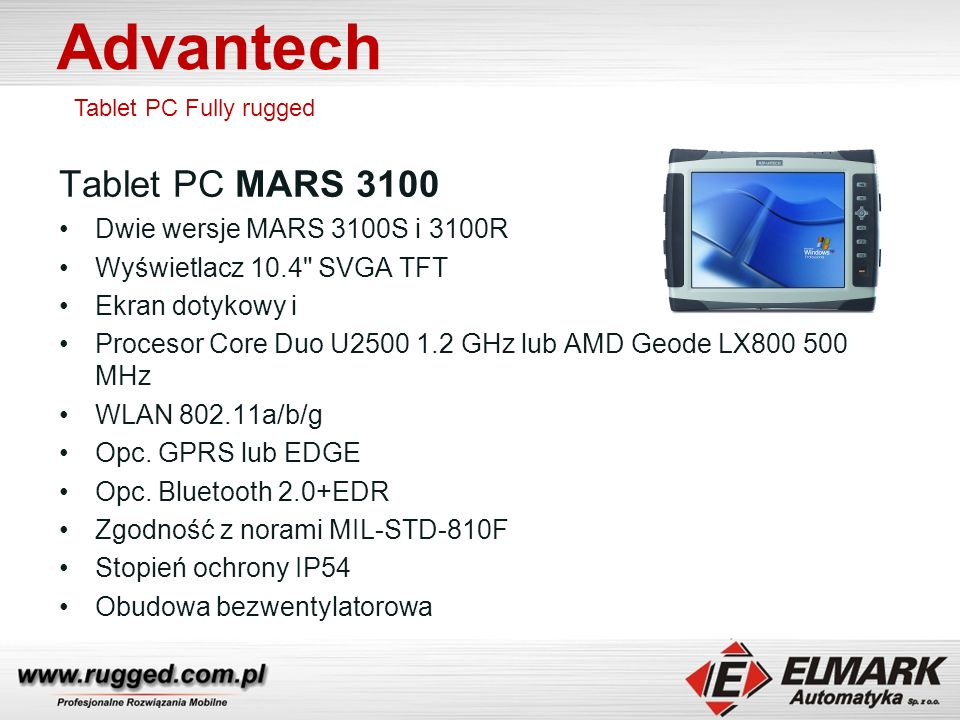 Advantech Tablet PC MARS 3100 Dwie wersje MARS 3100S i 3100R
