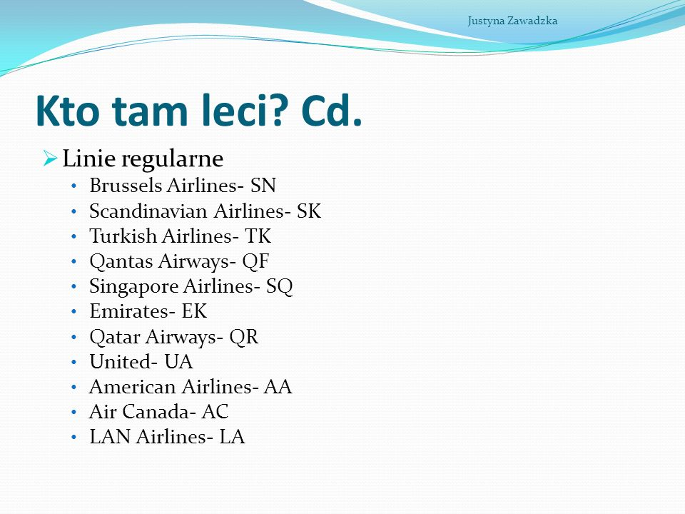 Kto tam leci Cd. Linie regularne Brussels Airlines- SN