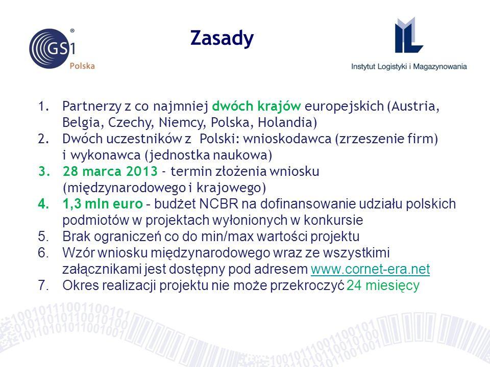 Zasady Partnerzy z co najmniej dwóch krajów europejskich (Austria, Belgia, Czechy, Niemcy, Polska, Holandia)