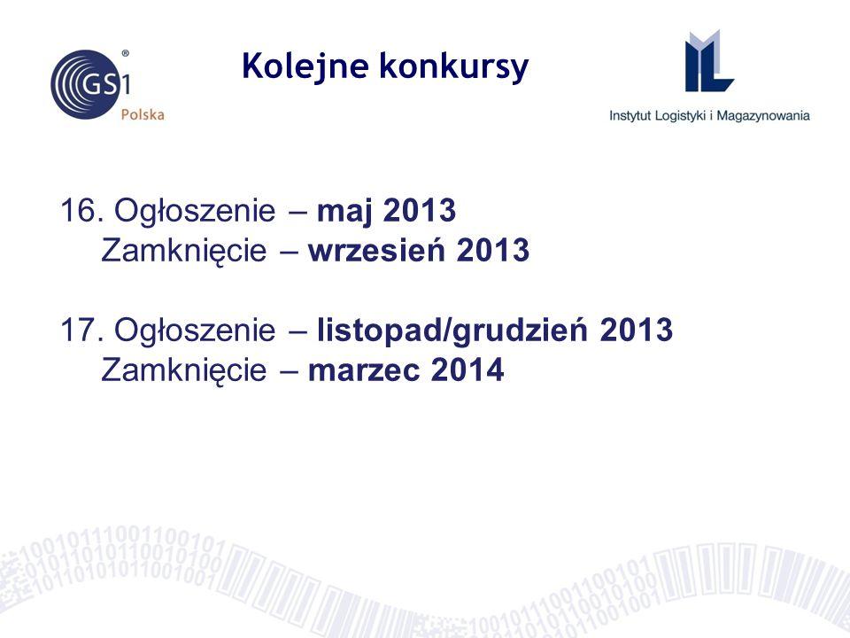 Kolejne konkursy 16. Ogłoszenie – maj 2013 Zamknięcie – wrzesień 2013