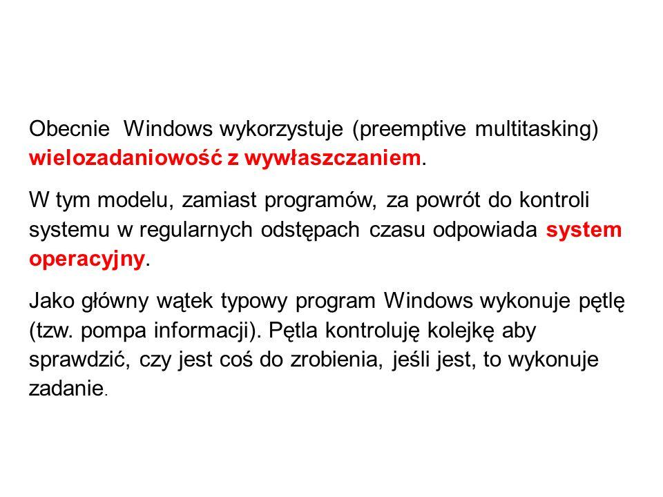 Obecnie Windows wykorzystuje (preemptive multitasking) wielozadaniowość z wywłaszczaniem.