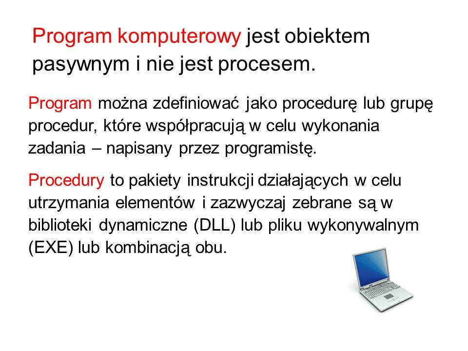Program komputerowy jest obiektem pasywnym i nie jest procesem.