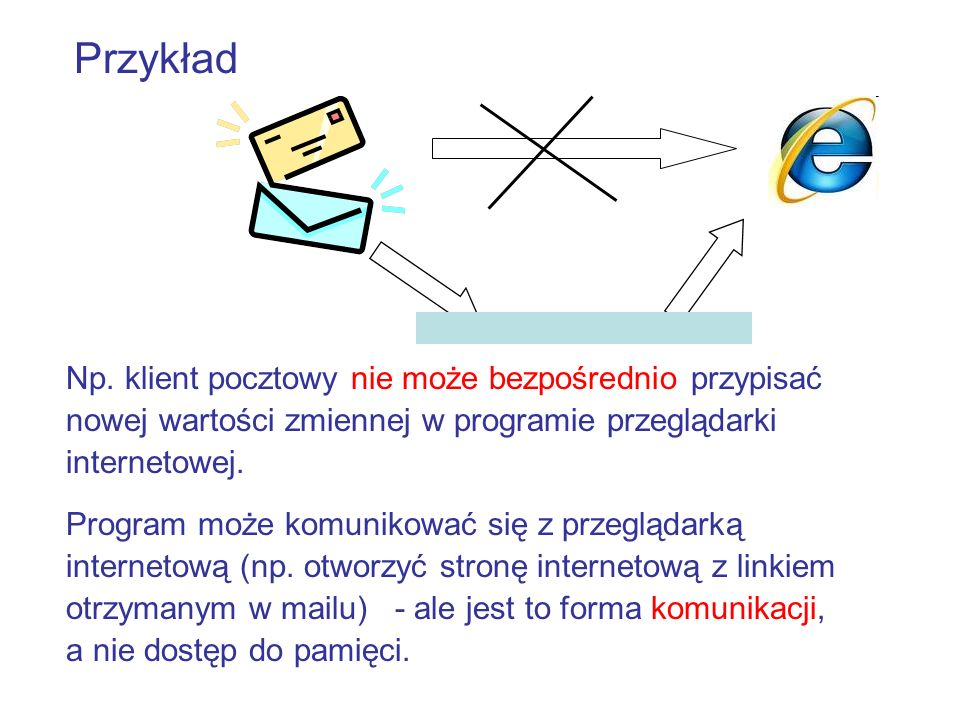 Przykład Np. klient pocztowy nie może bezpośrednio przypisać nowej wartości zmiennej w programie przeglądarki internetowej.