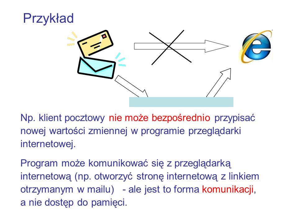 PrzykładNp. klient pocztowy nie może bezpośrednio przypisać nowej wartości zmiennej w programie przeglądarki internetowej.