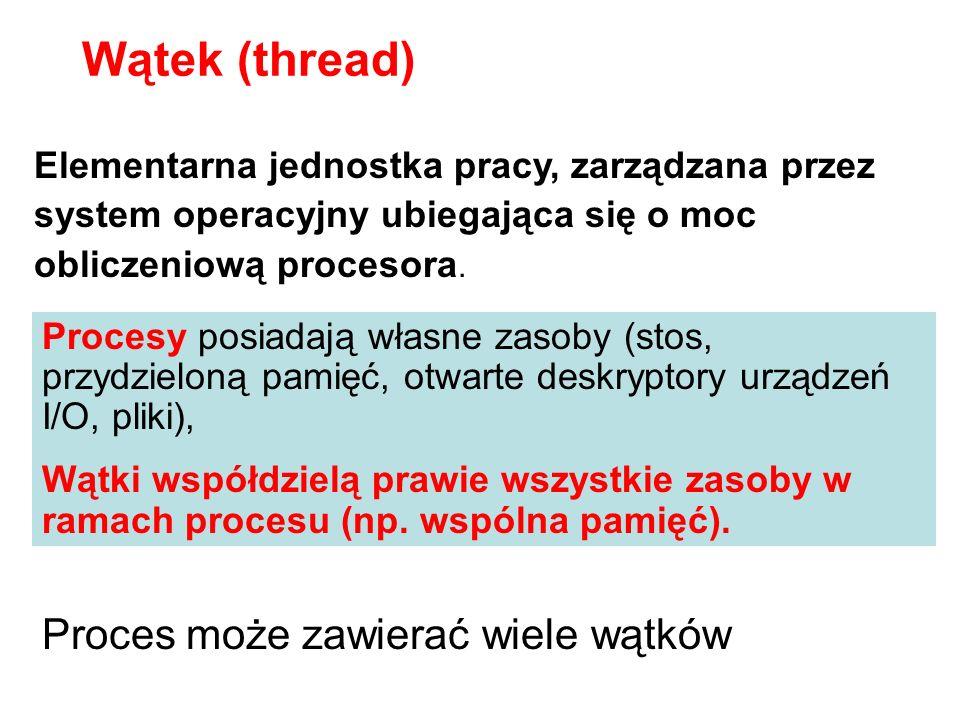 Wątek (thread) Proces może zawierać wiele wątków