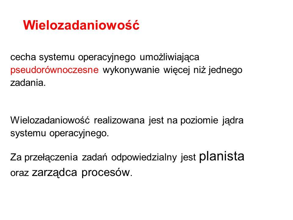 Wielozadaniowośćcecha systemu operacyjnego umożliwiająca pseudorównoczesne wykonywanie więcej niż jednego zadania.