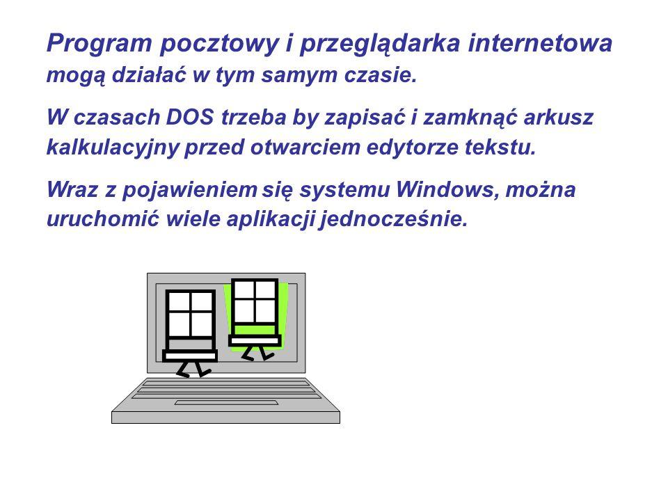 Program pocztowy i przeglądarka internetowa mogą działać w tym samym czasie.