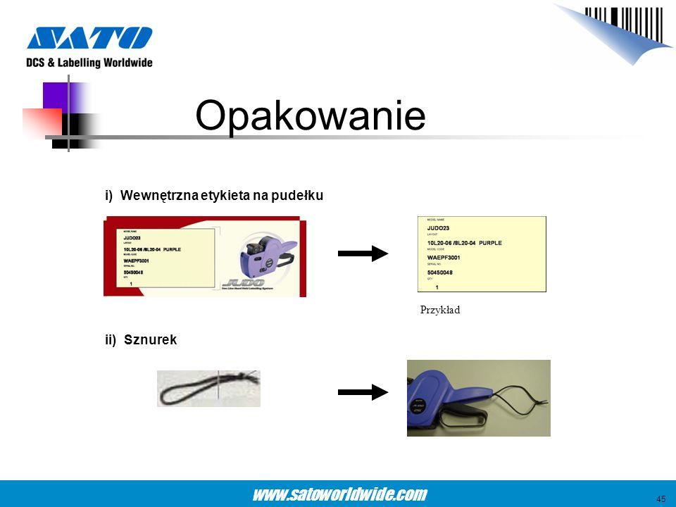 Opakowanie i) Wewnętrzna etykieta na pudełku ii) Sznurek Przykład