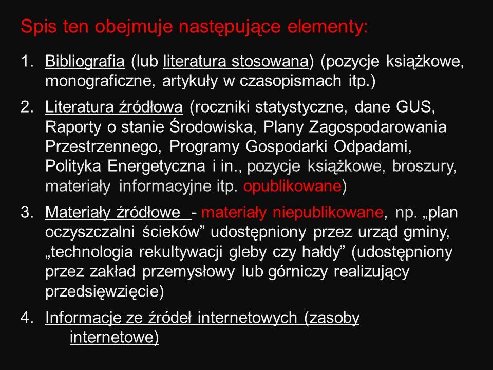 Spis ten obejmuje następujące elementy: