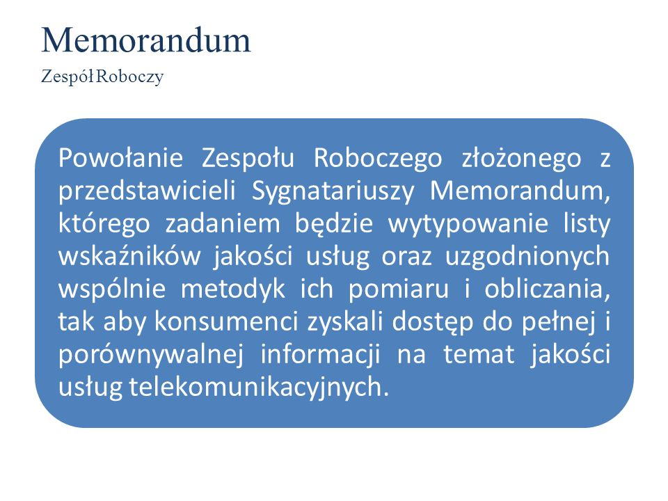 Memorandum Zespół Roboczy.