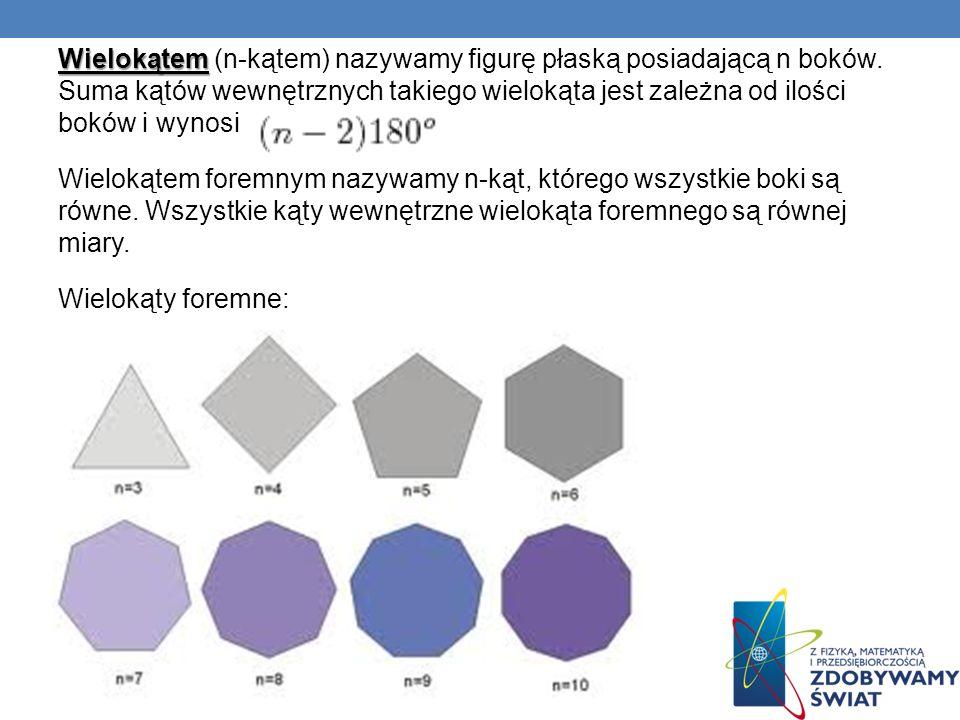 Wielokątem (n-kątem) nazywamy figurę płaską posiadającą n boków