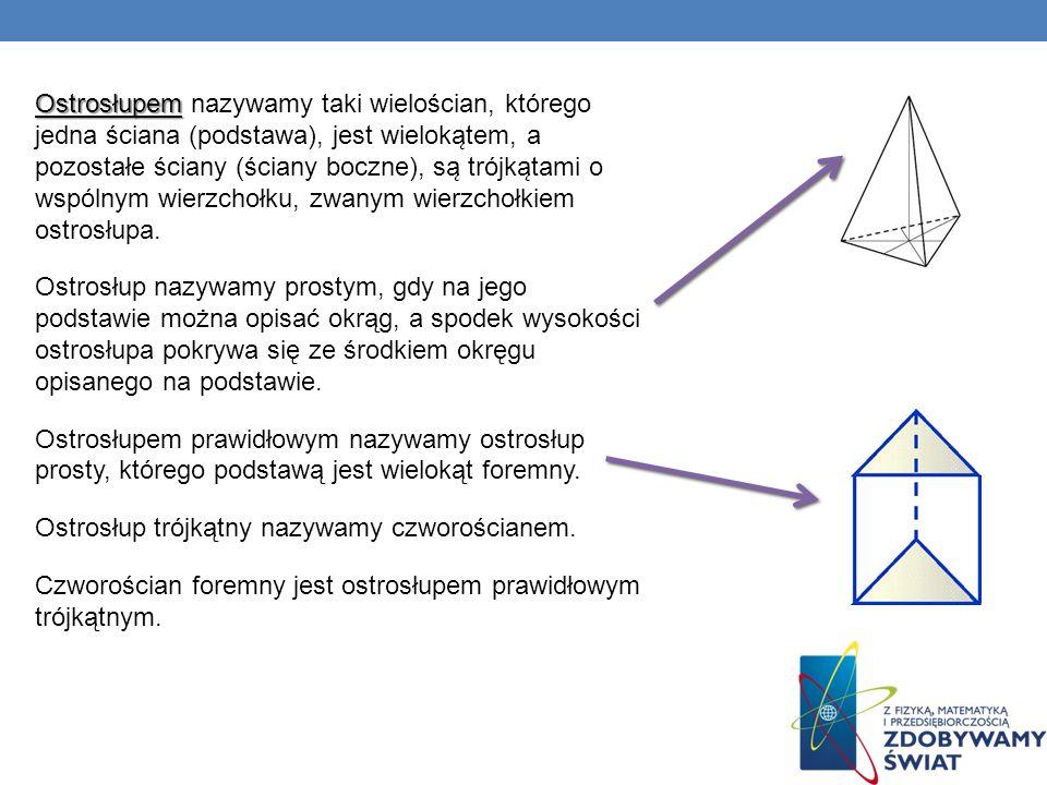 Ostrosłupem nazywamy taki wielościan, którego jedna ściana (podstawa), jest wielokątem, a pozostałe ściany (ściany boczne), są trójkątami o wspólnym wierzchołku, zwanym wierzchołkiem ostrosłupa.