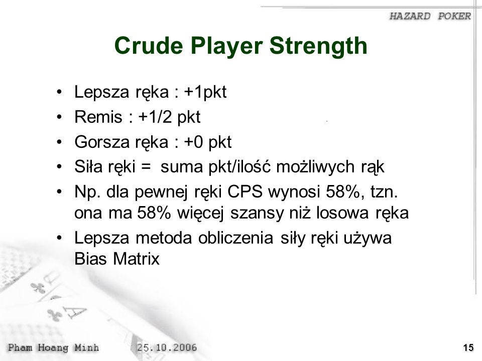 Crude Player Strength Lepsza ręka : +1pkt Remis : +1/2 pkt