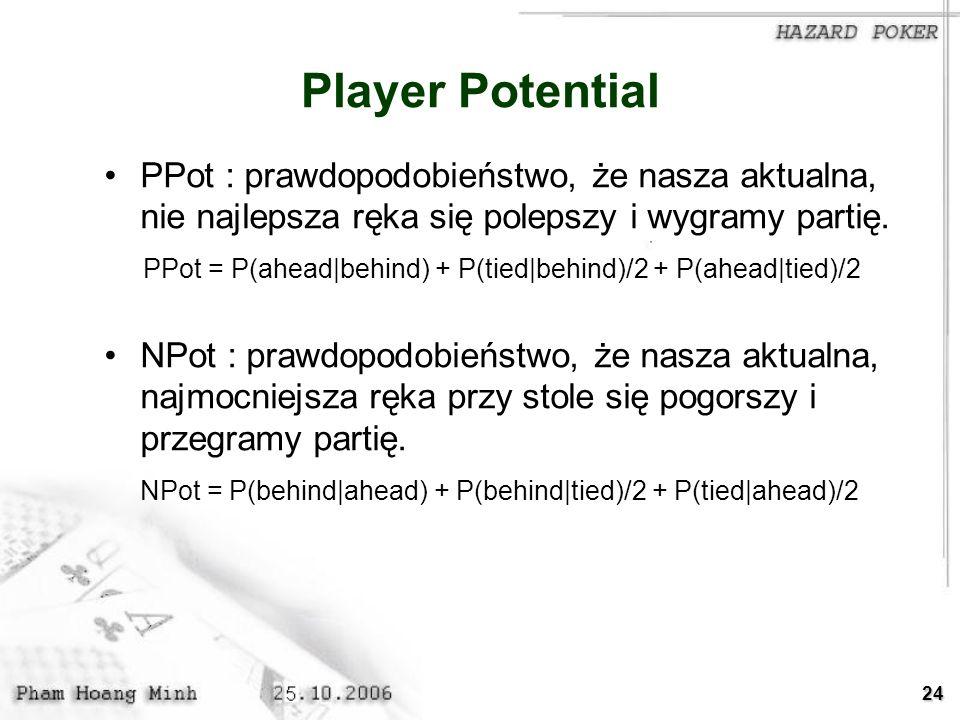 Player Potential PPot : prawdopodobieństwo, że nasza aktualna, nie najlepsza ręka się polepszy i wygramy partię.