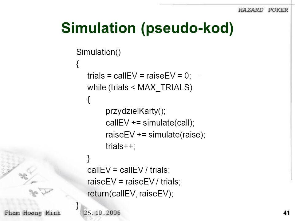 Simulation (pseudo-kod)
