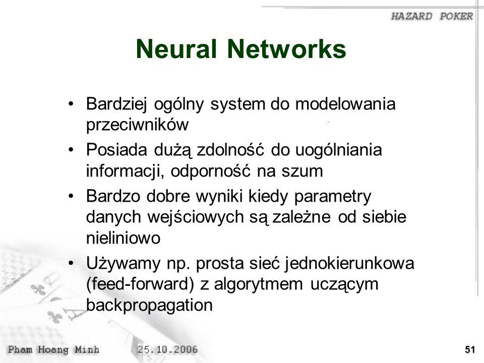 Neural Networks Bardziej ogólny system do modelowania przeciwników