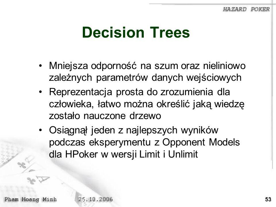 Decision Trees Mniejsza odporność na szum oraz nieliniowo zależnych parametrów danych wejściowych.