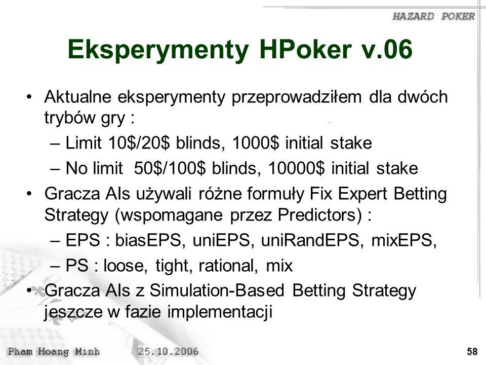 Eksperymenty HPoker v.06 Aktualne eksperymenty przeprowadziłem dla dwóch trybów gry : Limit 10$/20$ blinds, 1000$ initial stake.