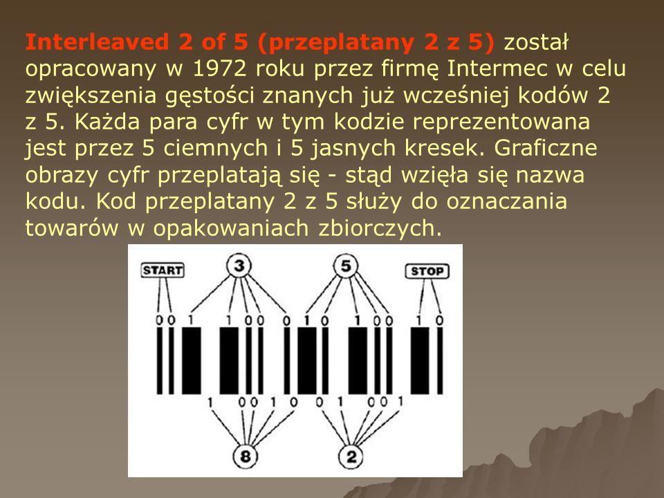 Interleaved 2 of 5 (przeplatany 2 z 5) został opracowany w 1972 roku przez firmę Intermec w celu zwiększenia gęstości znanych już wcześniej kodów 2 z 5.