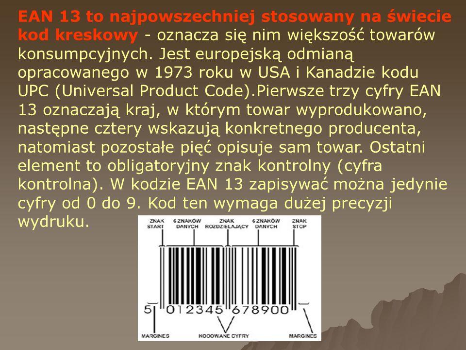 EAN 13 to najpowszechniej stosowany na świecie kod kreskowy - oznacza się nim większość towarów konsumpcyjnych.