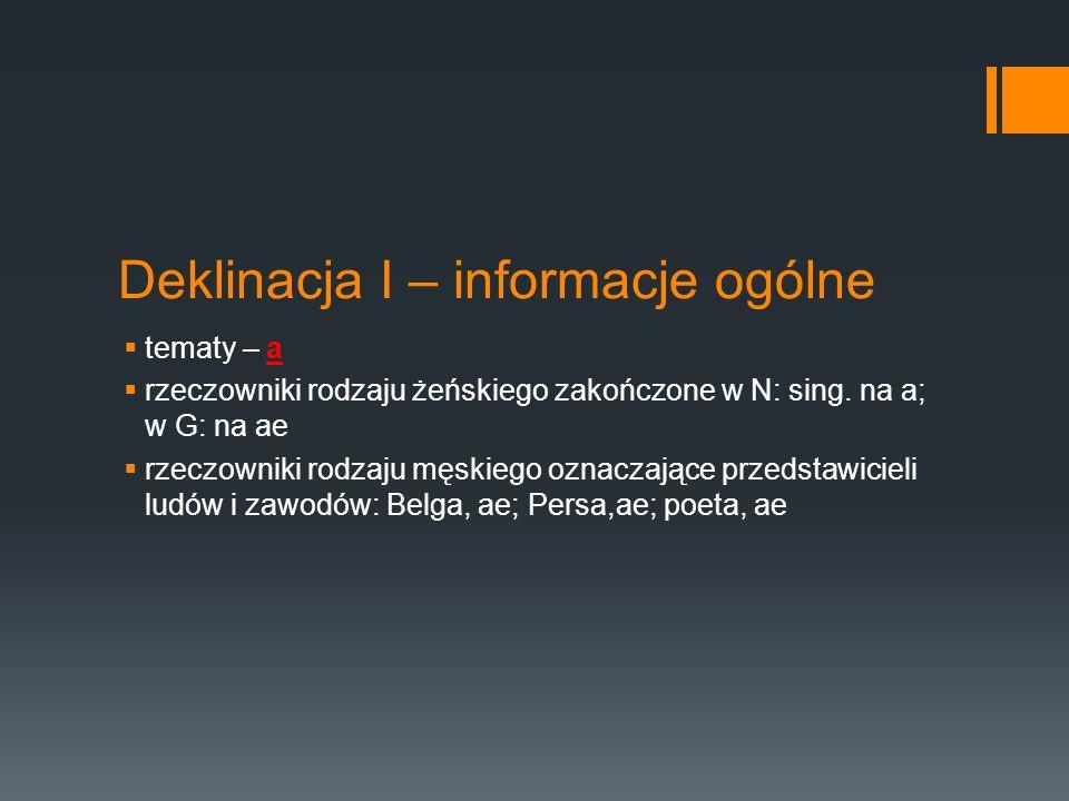 Deklinacja I – informacje ogólne